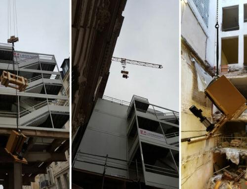 Grutage d'échangeur vapeur pour l'immeuble rue de Londres à Paris